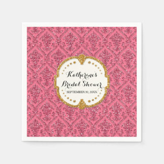 Faux Pink Glitter Damask Bridal Shower Party Decor Paper Napkin