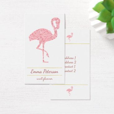 Professional Business faux pink glitter flamingo business card