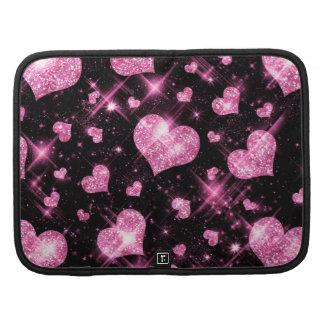 Faux Pink Glitter Hearts Planner