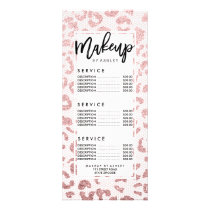 Faux pink glitter leopard pattern on pink lace rack card