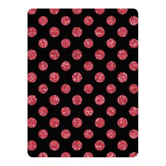 Faux Pink Glitter Polka Dots Pattern on Black Custom Invitations