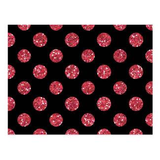 Faux Pink Glitter Polka Dots Pattern on Black Postcard