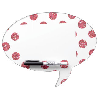Faux Pink Glitter Polka Dots Pattern on White Dry Erase Board