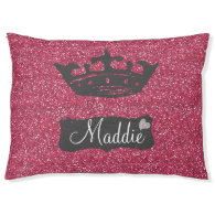 Faux Pink Glitter Sparkles with Crown Large Dog Bed