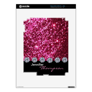 Faux pink glittering and diamond, stylish, classic decal for iPad 2