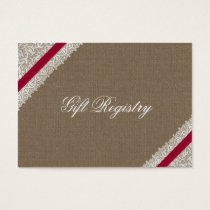 FAUX pink lace and burlap Gift registry  Cards