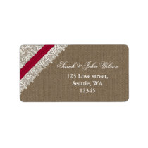 FAUX pink lace and burlap ,return address label