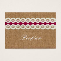 FAUX pink lace and burlap wedding Reception Cards