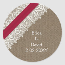 FAUX pink lace and burlap , wedding seals