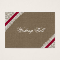 FAUX pink lace and burlap wishing well cards