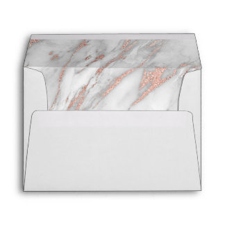 Faux Pink Rose Gold Foil & Grey Marble Wedding Envelope