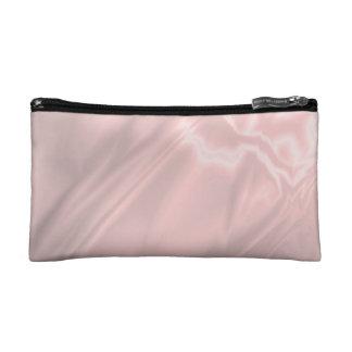 Faux Pink Satin Makeup Bag