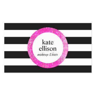 Faux Pink Sequin Black and White Striped Beauty Double-Sided Standard Business Cards (Pack Of 100)