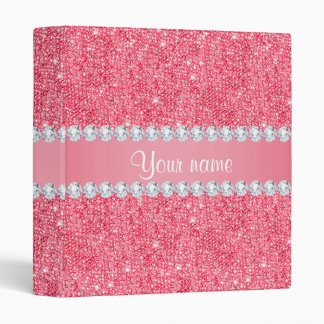 Faux Pink Sequins and Diamonds 3 Ring Binder