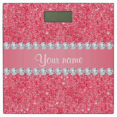 Faux Pink Sequins and Diamonds Bathroom Scale at Zazzle