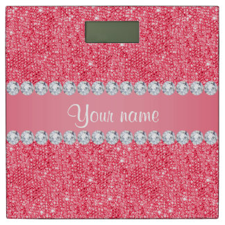 Faux Pink Sequins and Diamonds Bathroom Scale