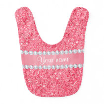 Faux Pink Sequins and Diamonds Bib