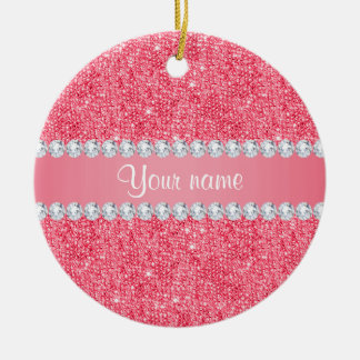 Faux Pink Sequins and Diamonds Ceramic Ornament