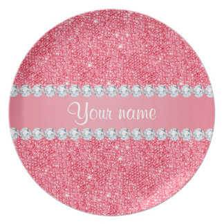 Faux Pink Sequins and Diamonds Dinner Plate