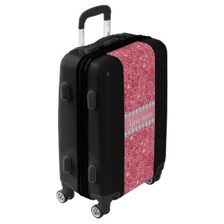 Faux Pink Sequins and Diamonds Luggage