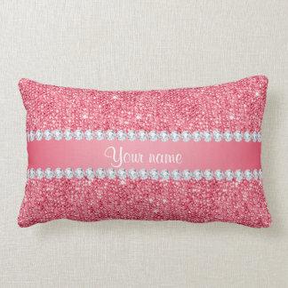 Faux Pink Sequins and Diamonds Lumbar Pillow