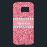 """Faux Pink Sequins and Diamonds Samsung Galaxy S7 Case<br><div class=""""desc"""">Glamorous personalized faux pink sequins and diamonds. PLEASE NOTE: These are flat printed graphics - no real sequins, jewels or raised parts. Click on the Customize it / Personalize it button to personalize with your text. If you need any assistance customizing your product please contact me through my store -...</div>"""