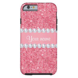 Faux Pink Sequins and Diamonds Tough iPhone 6 Case