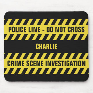 Faux Police Line custom text mousepad