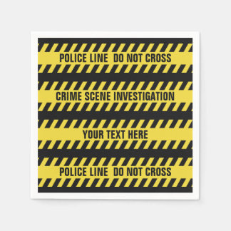 Faux Police Line custom text paper napkins