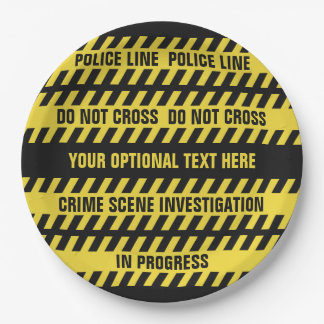Faux Police Line custom text paper plates