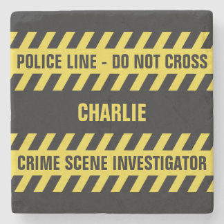 Faux Police Line custom text stone coaster