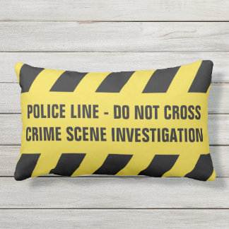 Faux Police Line / Welcome custom throw pillow