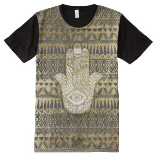 Faux Print Gold Hamsa Hand and Tribal Aztec All-Over Print T-shirt