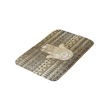 Aztec Themed Faux Print Gold Hamsa Hand and Tribal Aztec Bath Mat