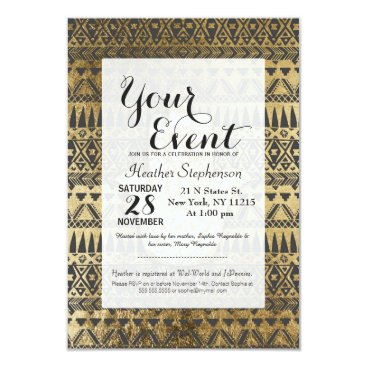 Aztec Themed Faux Print Gold Hamsa Hand and Tribal Aztec Card