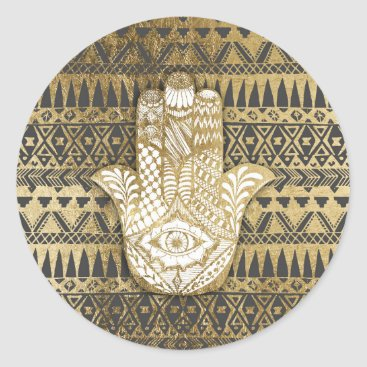 Aztec Themed Faux Print Gold Hamsa Hand and Tribal Aztec Classic Round Sticker