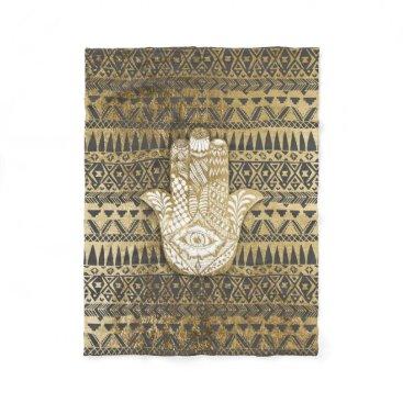 Aztec Themed Faux Print Gold Hamsa Hand and Tribal Aztec Fleece Blanket