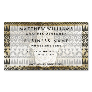 Aztec Themed Faux Print Gold Hamsa Hand and Tribal Aztec Magnetic Business Card