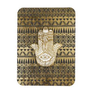 Faux Print Gold Hamsa Hand and Tribal Aztec Rectangular Photo Magnet