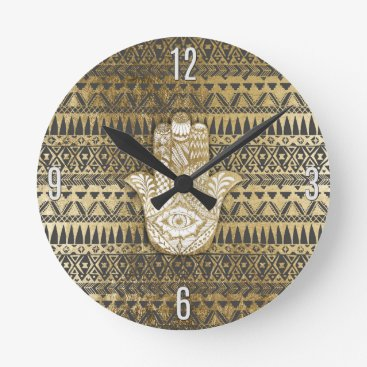 Aztec Themed Faux Print Gold Hamsa Hand and Tribal Aztec Round Clock