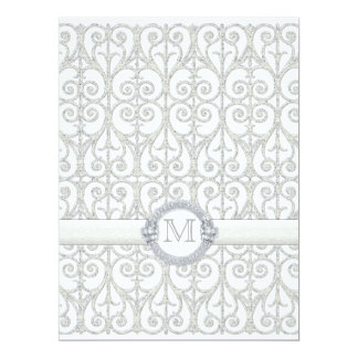 Faux Printed Diamonds & Lace, Monogrammed Wedding Card