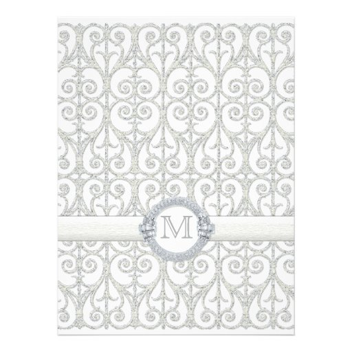 Faux Printed Diamonds & Lace, Monogrammed Wedding Personalized Announcements