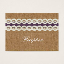 FAUX purpl lace and burlap wedding Reception Cards