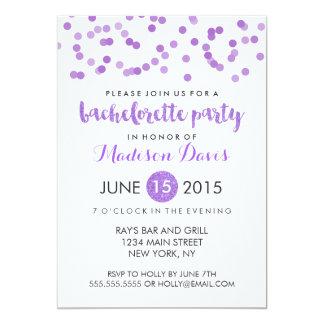 """Faux Purple Glitter Bachelorette Party 5"""" X 7"""" Invitation Card"""