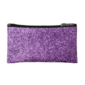 Faux Purple Glitter Makeup Bag
