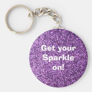 Faux Purple Glitter Basic Round Button Keychain