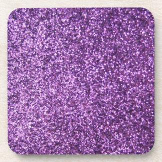 Faux Purple Glitter Drink Coaster