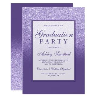 Faux purple glitter elegant Graduation party Card