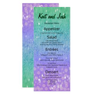 Faux Purple Glitter Glam Glow Green Confetti Menu Card