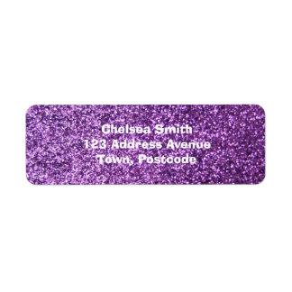 Faux Purple Glitter Label